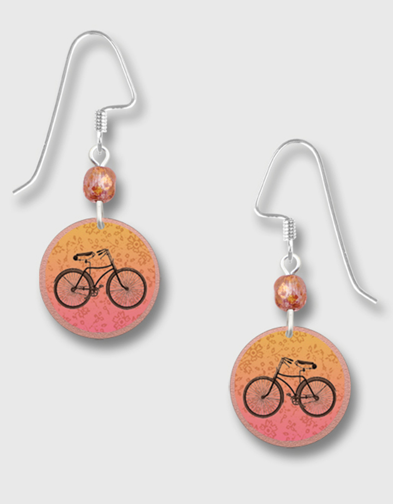 Copper Color Disk Earrings with Bicycle Print