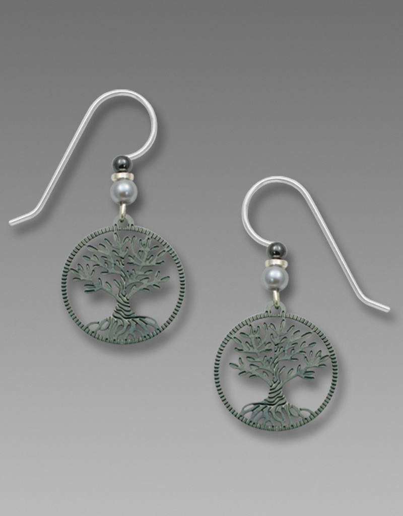 Gunmetal Gray Tree of Life Earrings