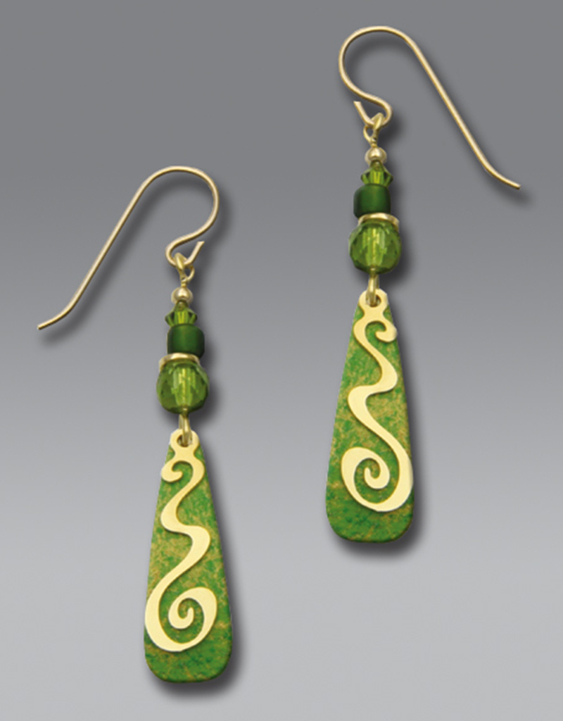 Green Drop Earrings with Gold Spiral and Beads