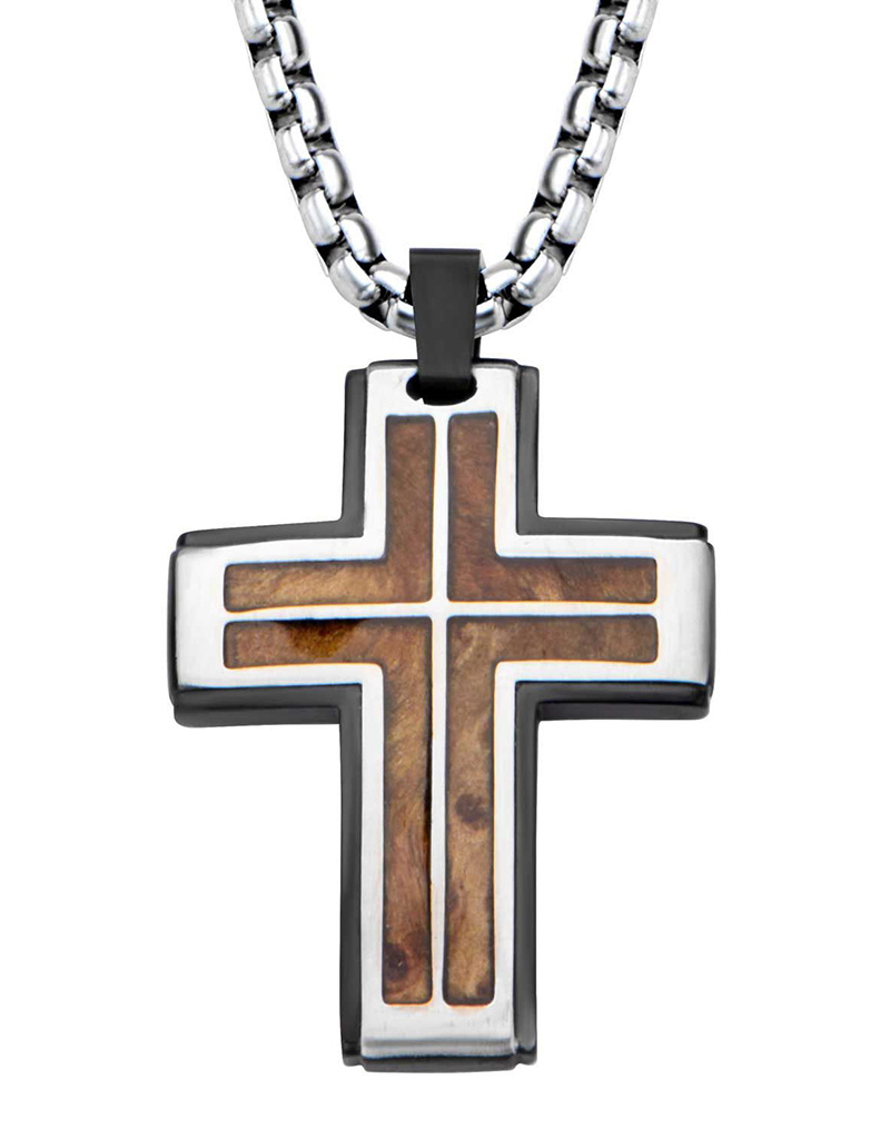 "Steel & Rose Wood Cross Necklace 22"""