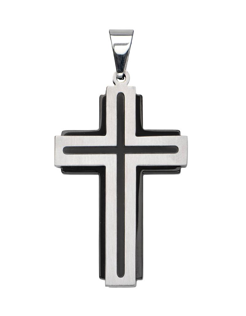 Black Line Steel Cross Pendant 40mm