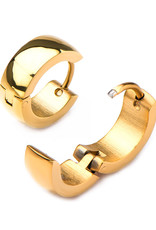 Stainless Steel 5mm Wide Gold PVD Huggie Earrings 13mm