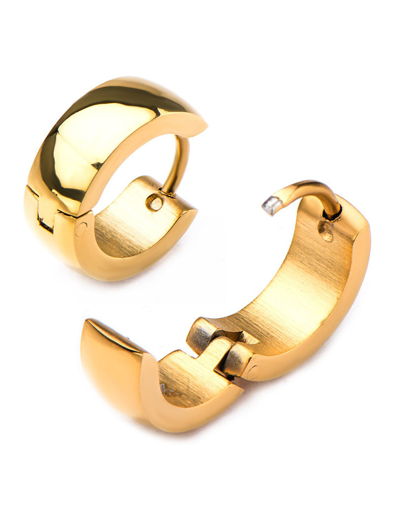 Stainless Steel 5mm Wide Gold PVD Huggie Earrings 13mm