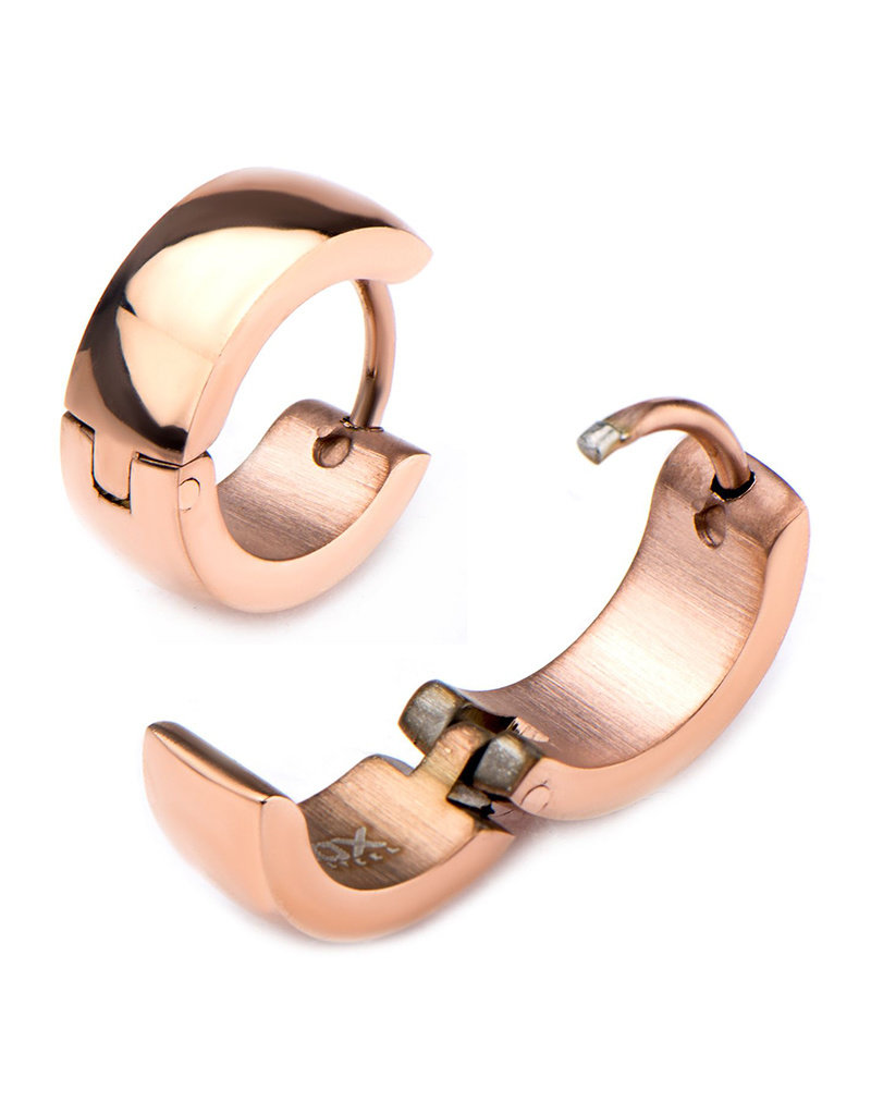 Stainless Steel 5mm Wide Rose Gold Huggie Earrings 13mm