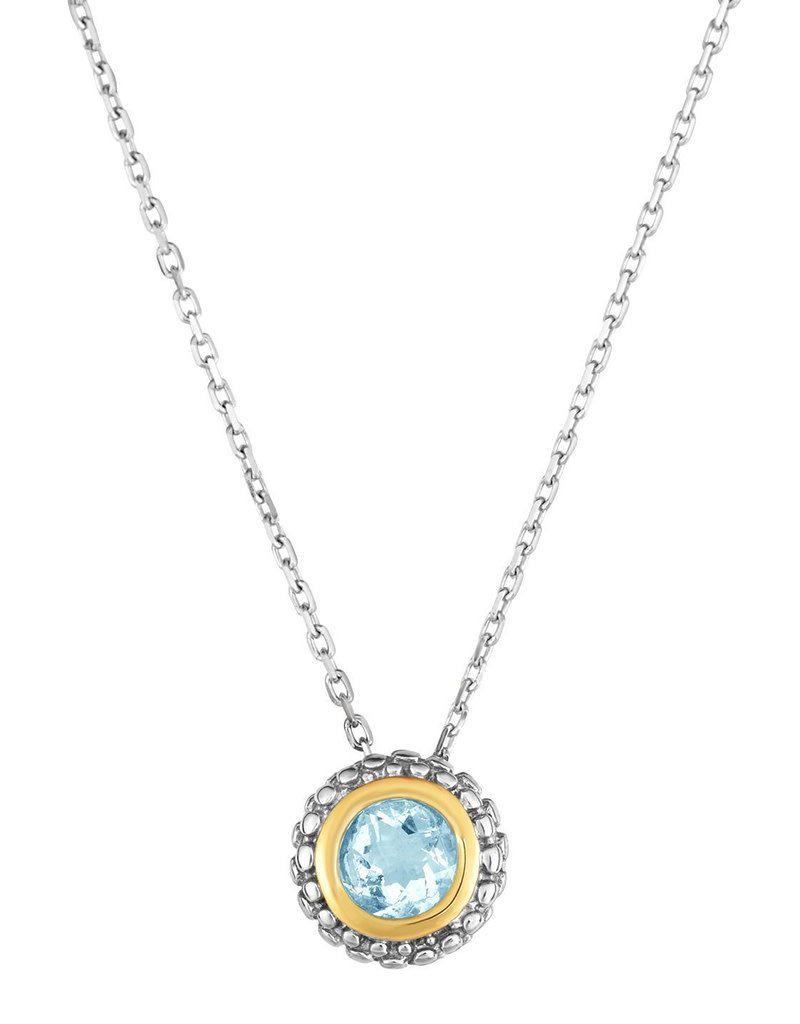 Sterling Silver and 18kt Yellow Gold Aquamarine Necklace 18""