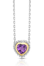 Sterling Silver and 18kt Yellow Gold Amethyst Heart Necklace 18""
