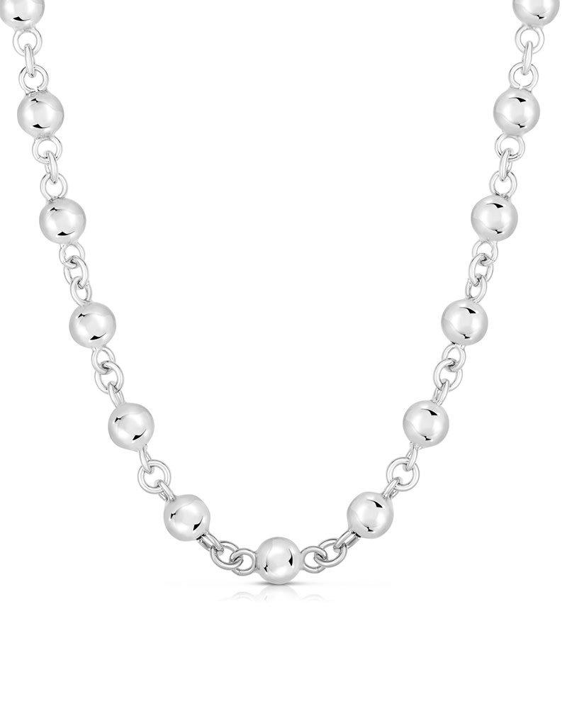 "Sterling Silver 6mm Bead Link Bracelet 7.5"""