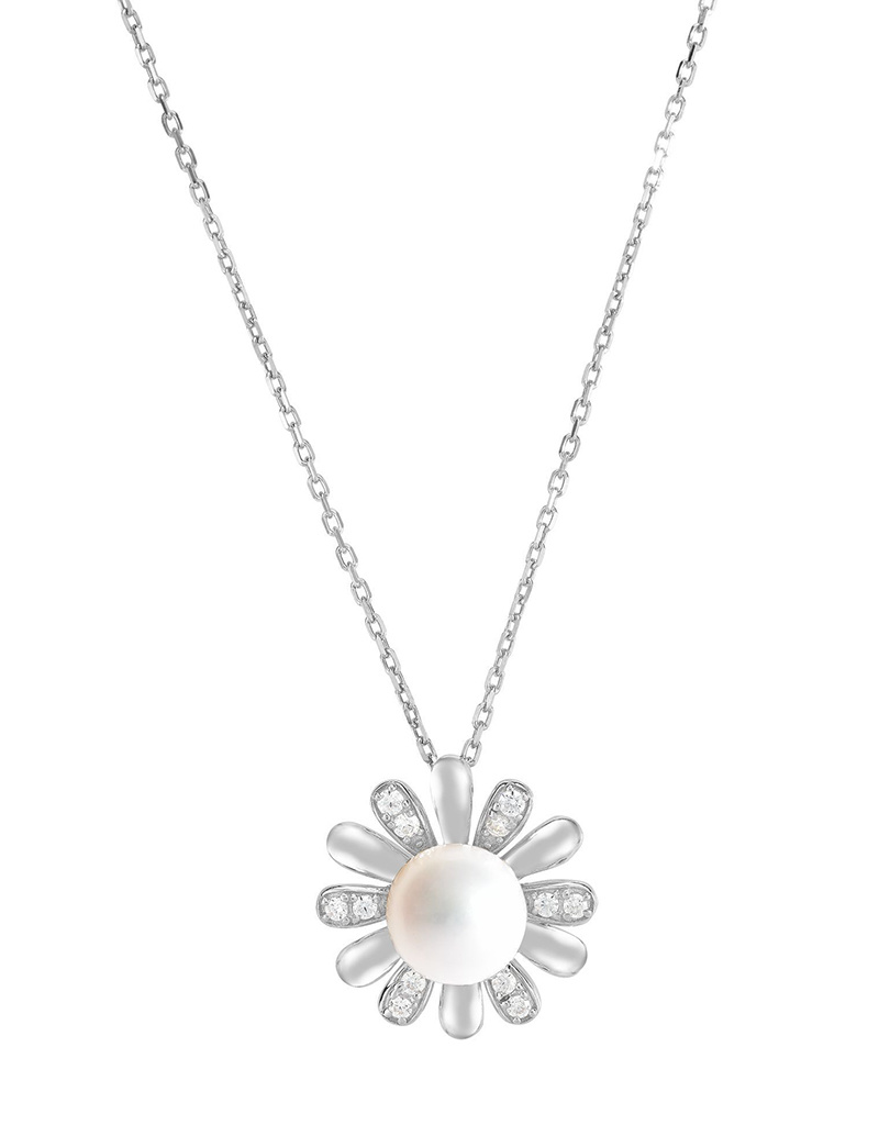 """Flower CZ Pearl Necklace 18"""""""