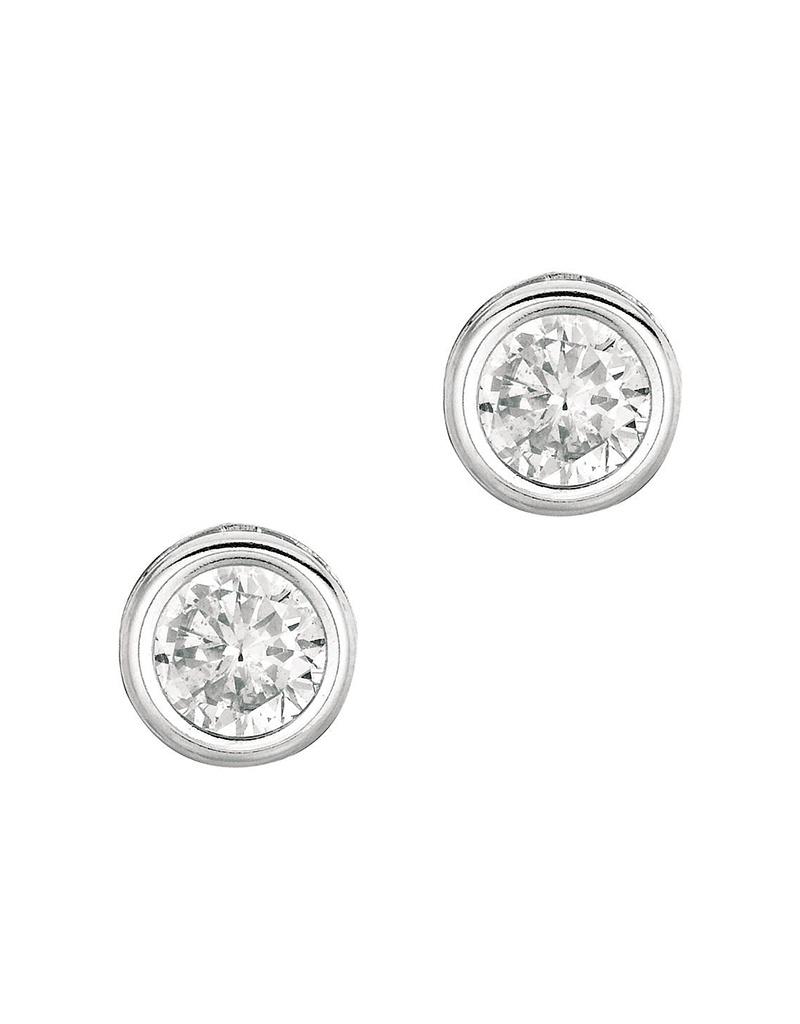 Bezel Set CZ Stud Earrings 7mm