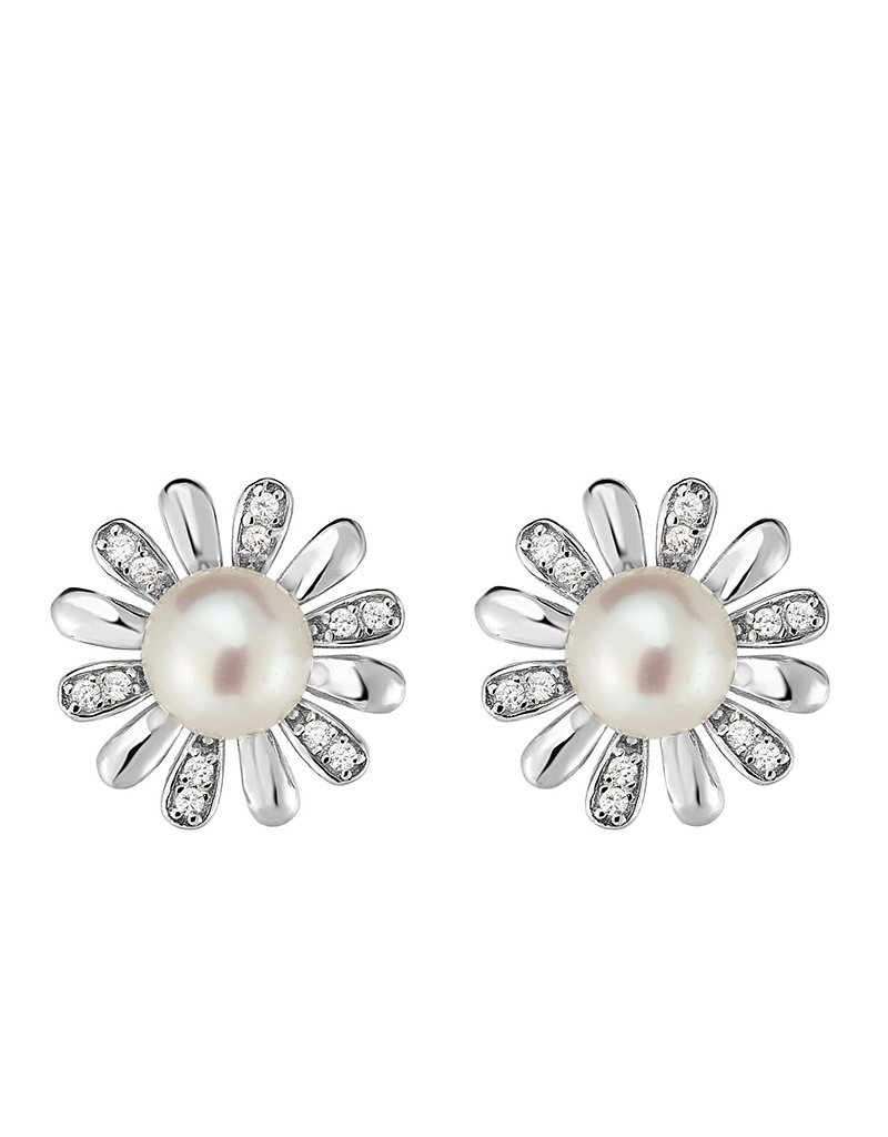 Flower CZ Pearl Post Earrings 14mm