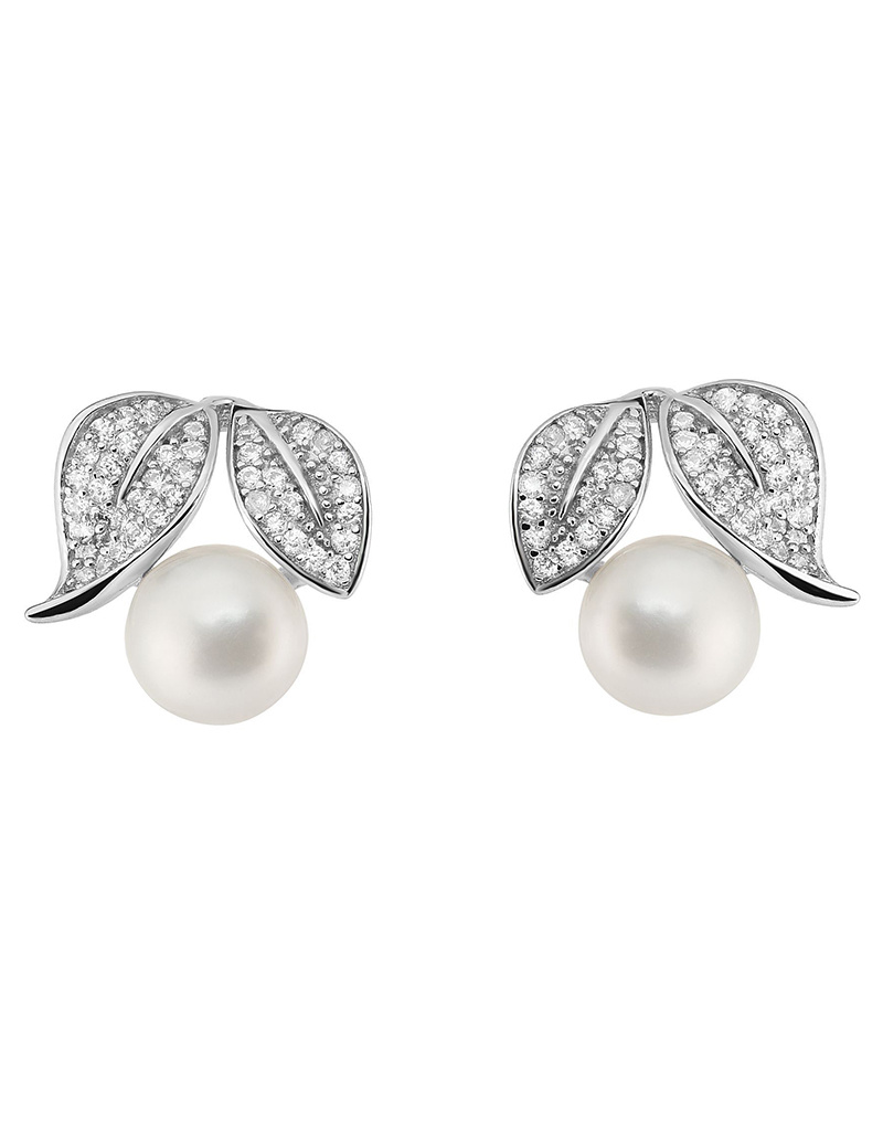 Leaves CZ and Pearl Post Earrings