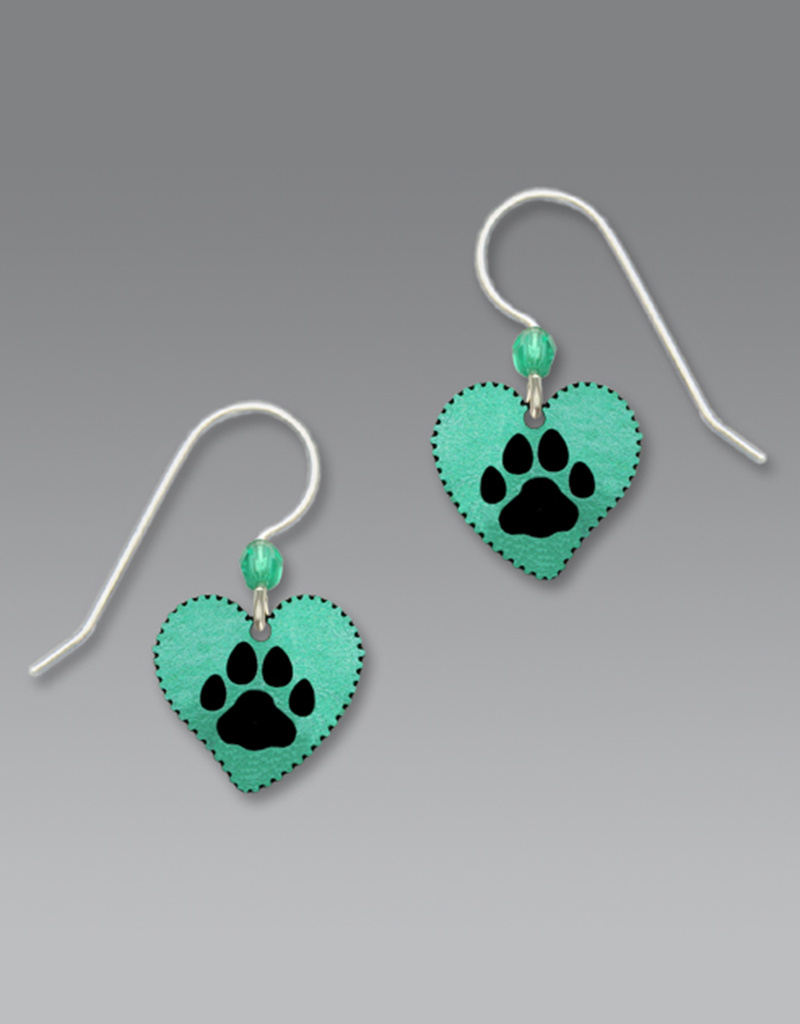 Turquoise Heart Earrings with Paw Print