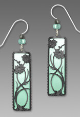 Aqua and White Column Earrings with Hematite Floral Overlay