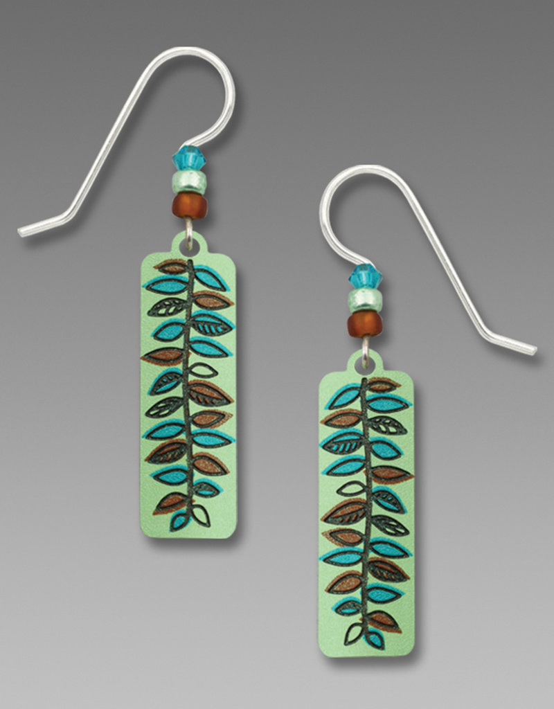 Soft Apple Green Column with Amber & Turquoise Fern Leaf Earrings
