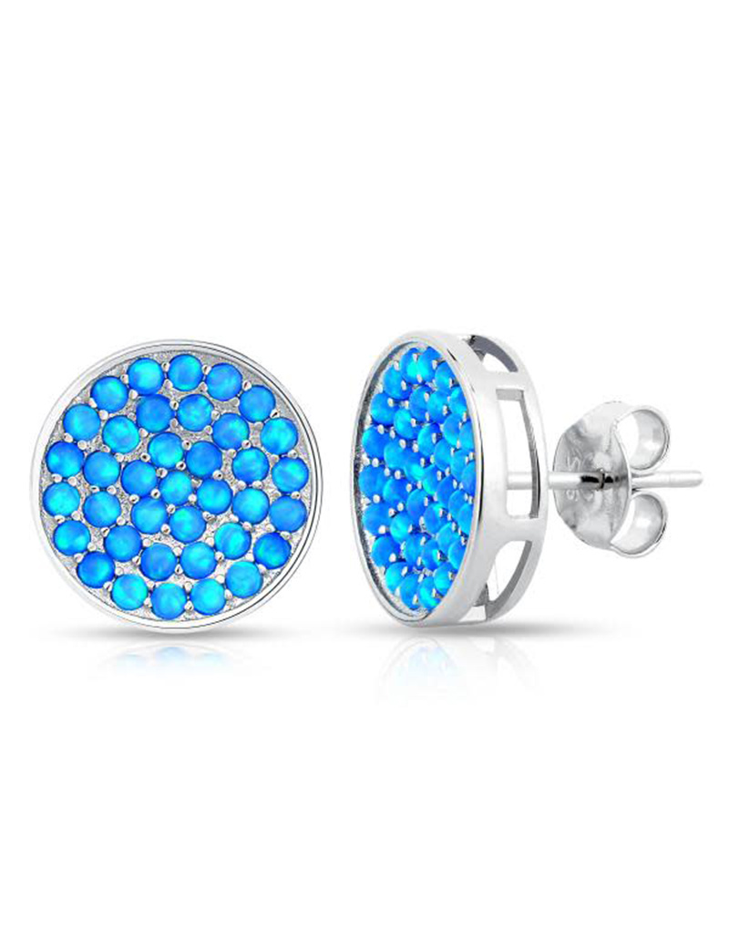 Round Opal Post Earrings 12mm