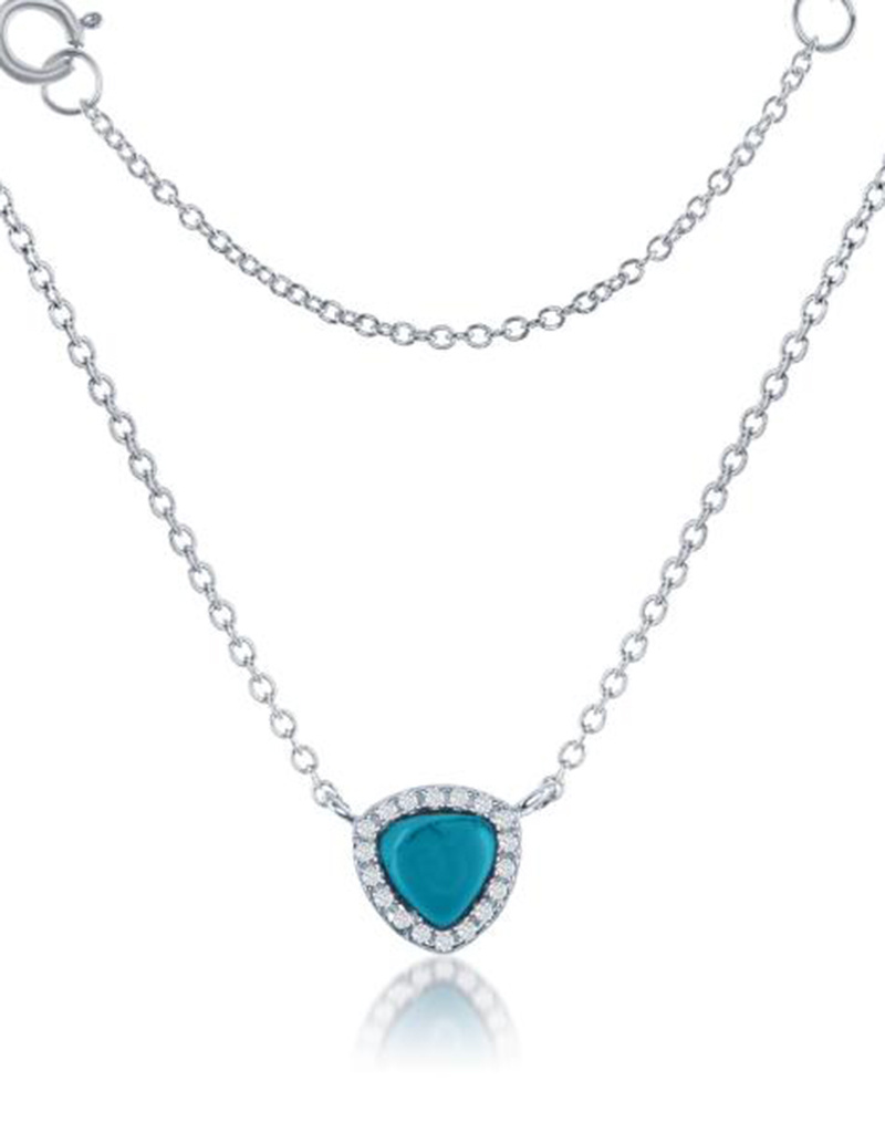 Triangle Synthetic Turquoise Necklace