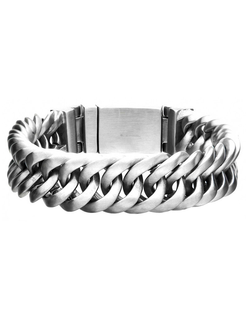 Men's Stainless Steel 15mm Wide Matte Finish Double Curb Bracelet 8""