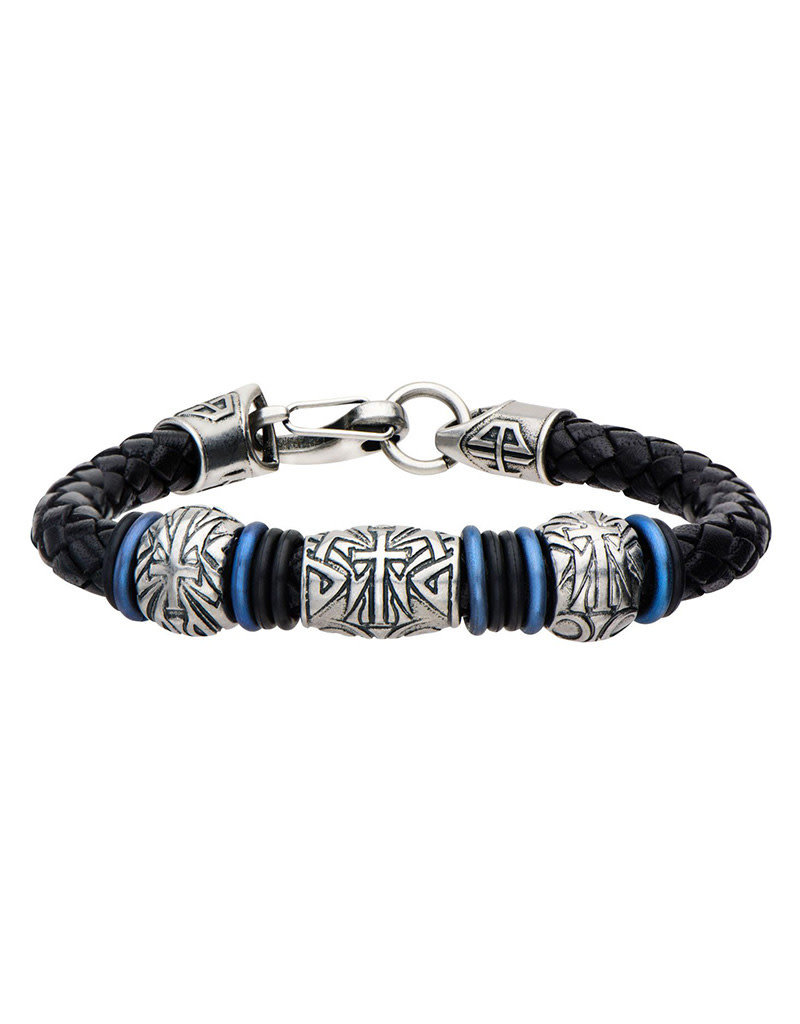 "Men's Stainless Steel Antique Silver Cross Leather Bracelet 9"""