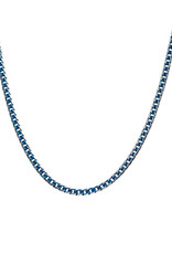 Men's Stainless Steel 6mm Diamond Cut Blue Curb Chain Necklace 22""