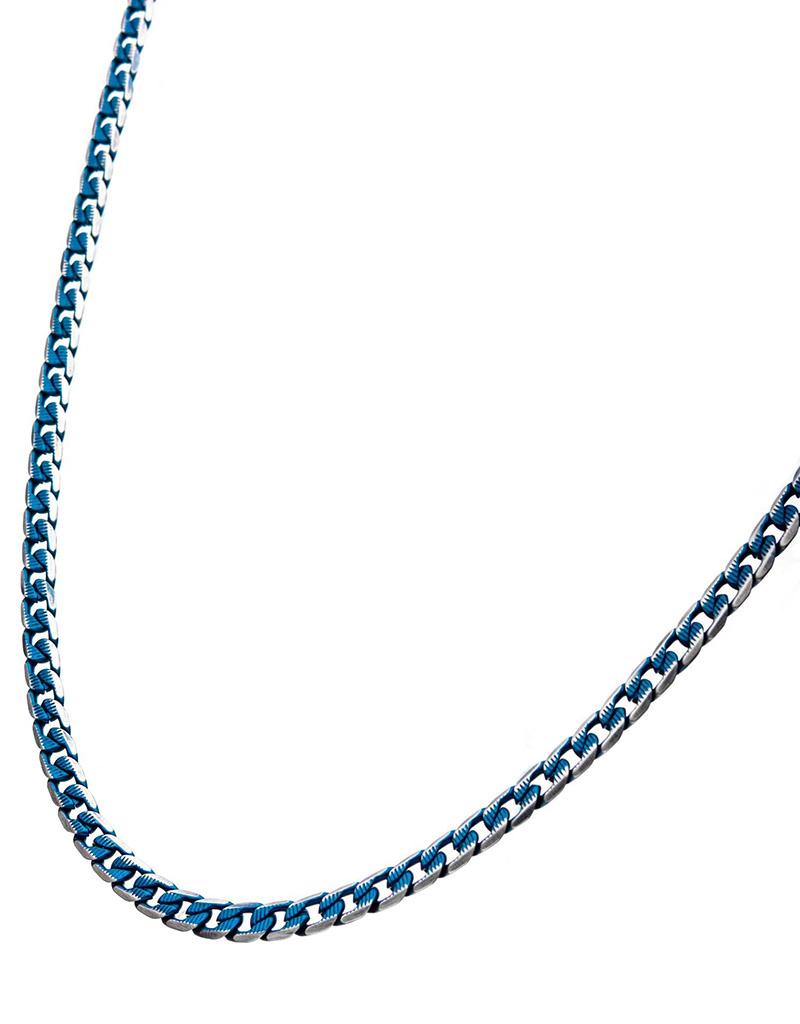 """6mm D/C Blue Curb Necklace 22"""""""