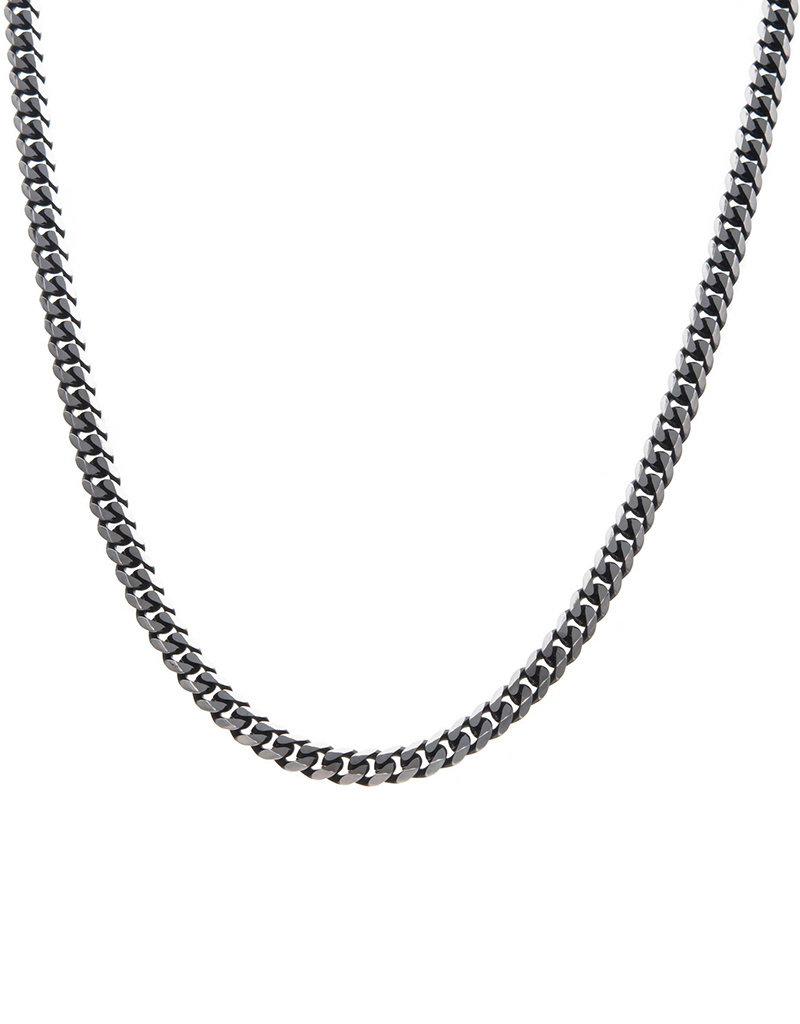 Men's Black Stainless Steel 8mm Curb Necklace 22""