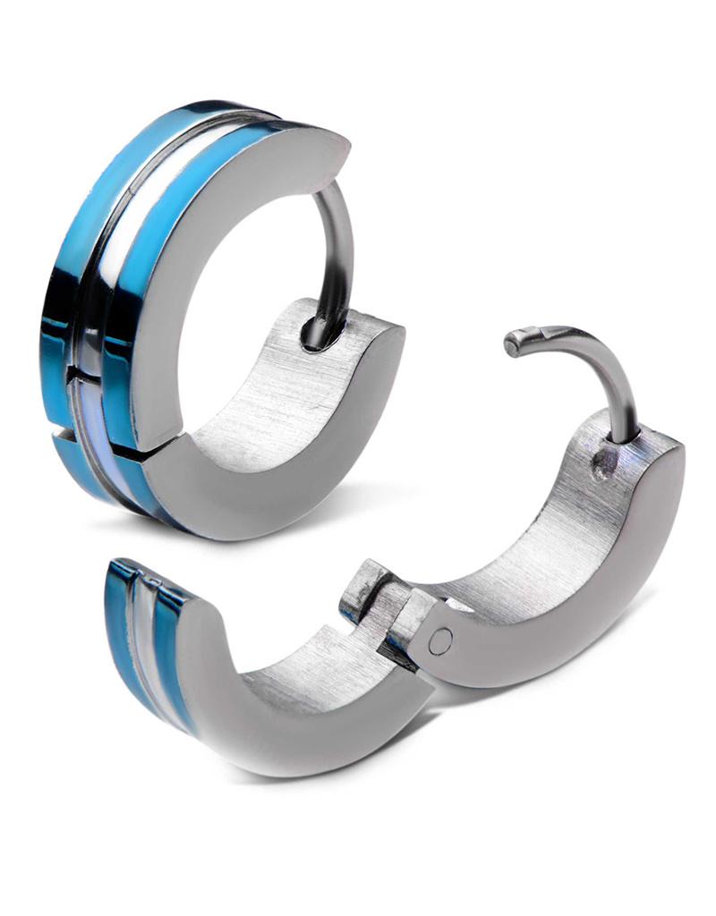 Blue Edge Steel Huggie Earrings 13mm