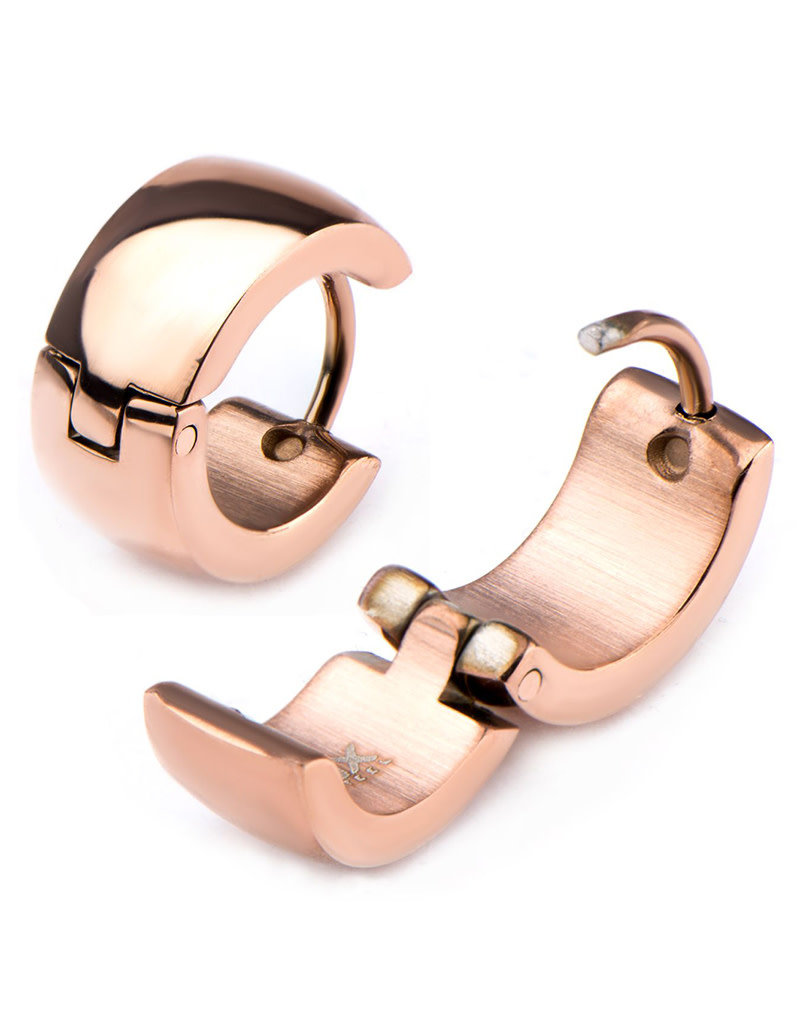 Stainless Steel 6mm Wide Huggie Earrings with Rose Gold IP Finish 13mm