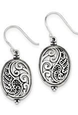 Sterling Silver Antique Oval Yin Yang Earrings 25mm