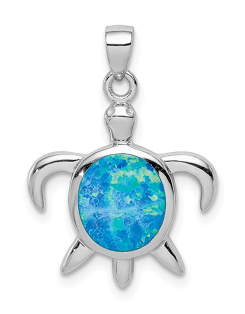 Opal Turtle Pendant 18mm