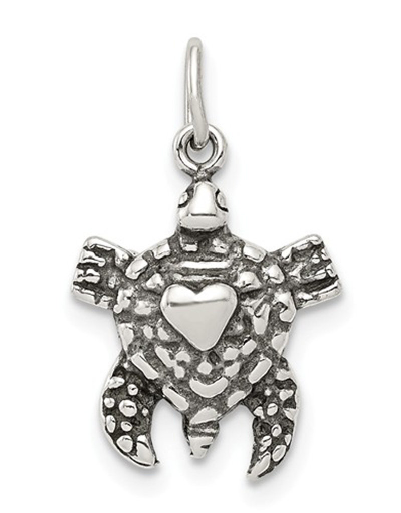Sterling Silver Antiqued Sea Turtle Charm 13mm