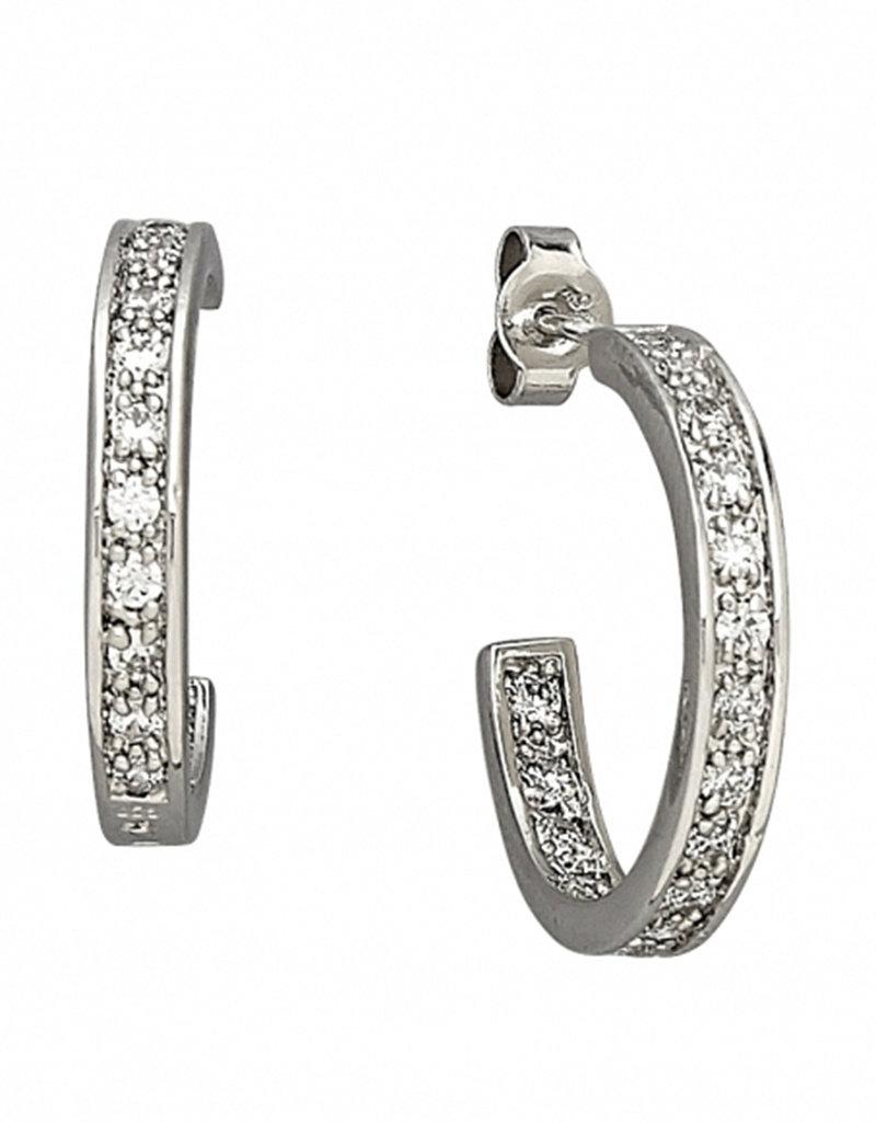Sterling Silver 3/4 Hoop CZ Post Earrings 21mm
