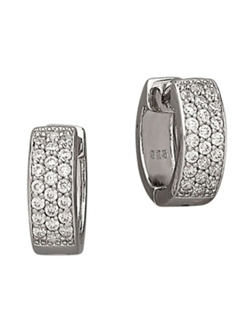 Pave CZ Huggie Earrings 13mm