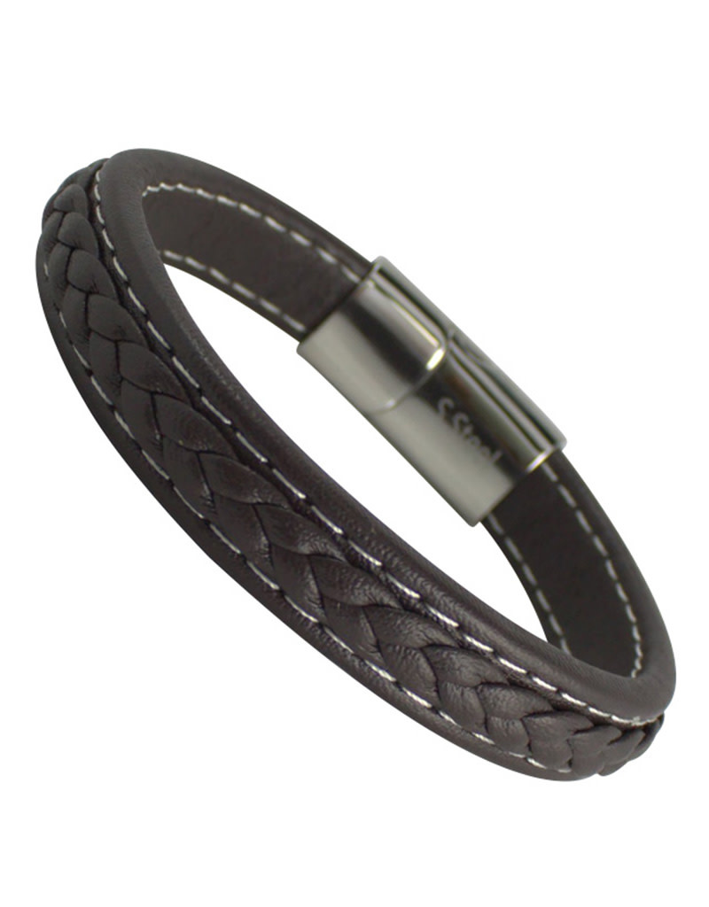 Braided Brown Leather Bracelet 8.5""