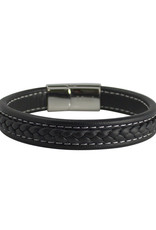 Men's Black Braided Leather Bracelet 8.5""