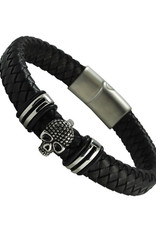 Men's Black Leather with Stainless Steel Skull Bracelet 9""