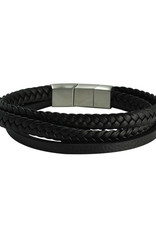 Men's Multi Strand Black Leather Bracelet 9""