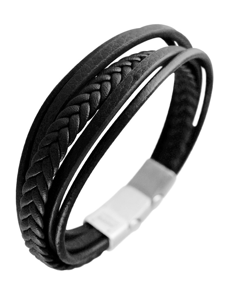 Multi Strand Black Leather Bracelet 8.5""