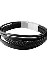 "Men's Multi Strand Black Leather Bracelet 8.5"""