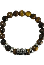 Men's Tiger Eye Beaded Stretch Bracelet with Stainless Steel Dragon Bead