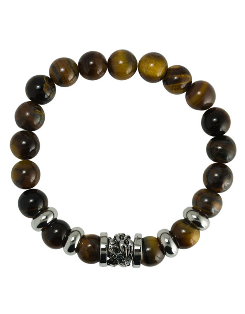 Tiger Eye Beaded Bracelet with Dragon
