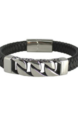 Men's Black Leather with Steel Curb Chain Design Bar Bracelet 8.5""
