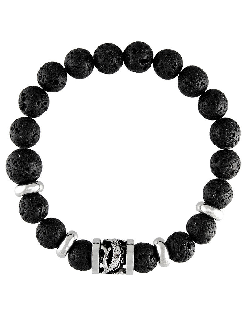 Men's Black Lava Beaded Stretch Bracelet with Stainless Steel Dragon Bead
