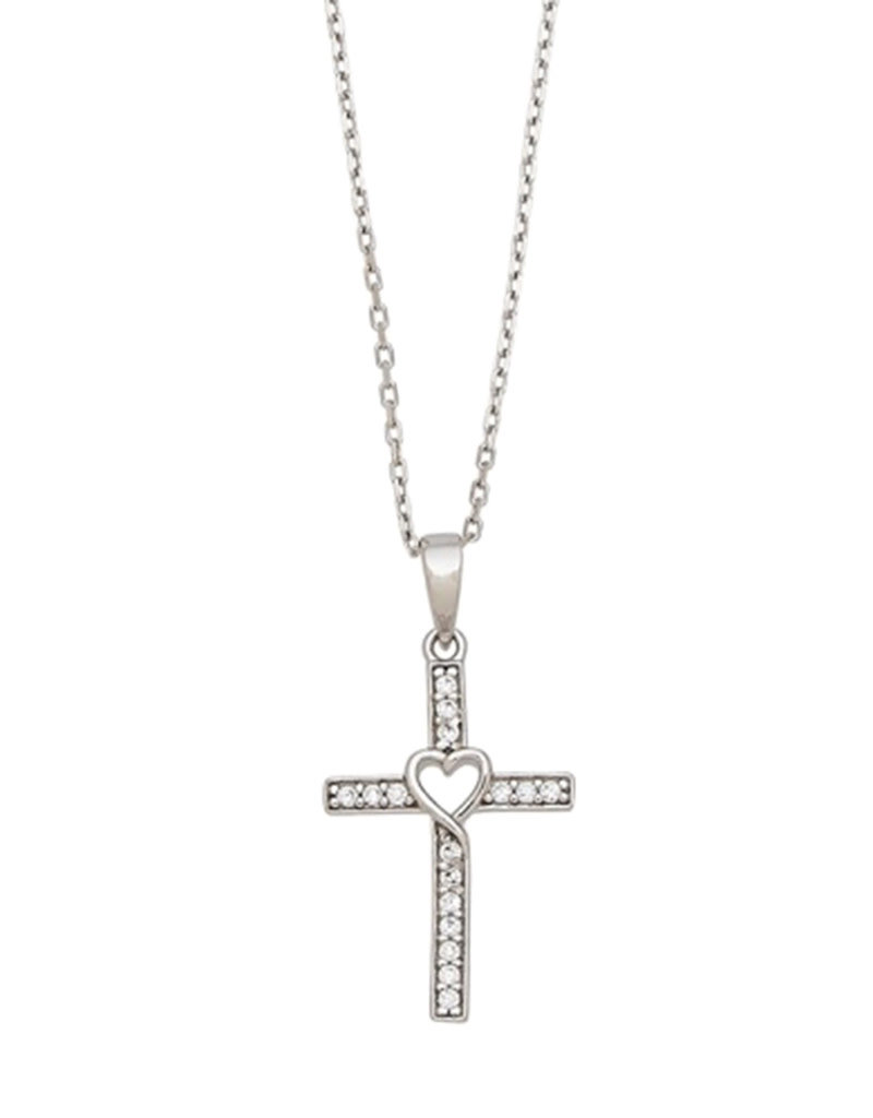 Sterling Silver CZ Cross with Heart Necklace 18""