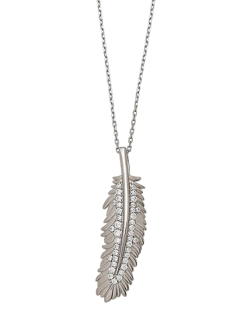 CZ Feather Necklace 18""