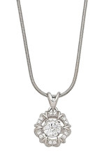 """Sterling Silver Dancing CZ Necklace 18"""""""