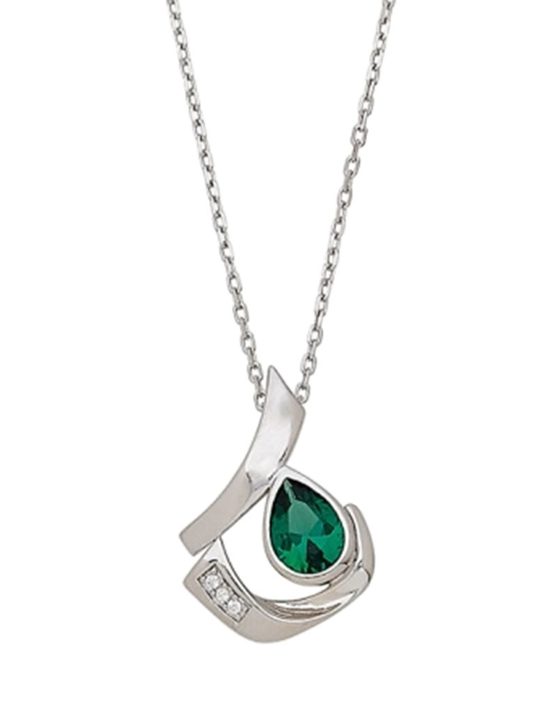 Sterling Silver Green Teardrop CZ Necklace 18""
