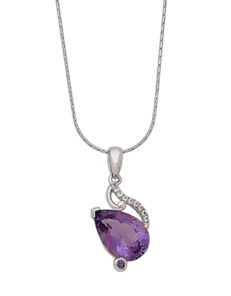 Sterling Silver Teardrop Amethyst and White Topaz Necklace 18""