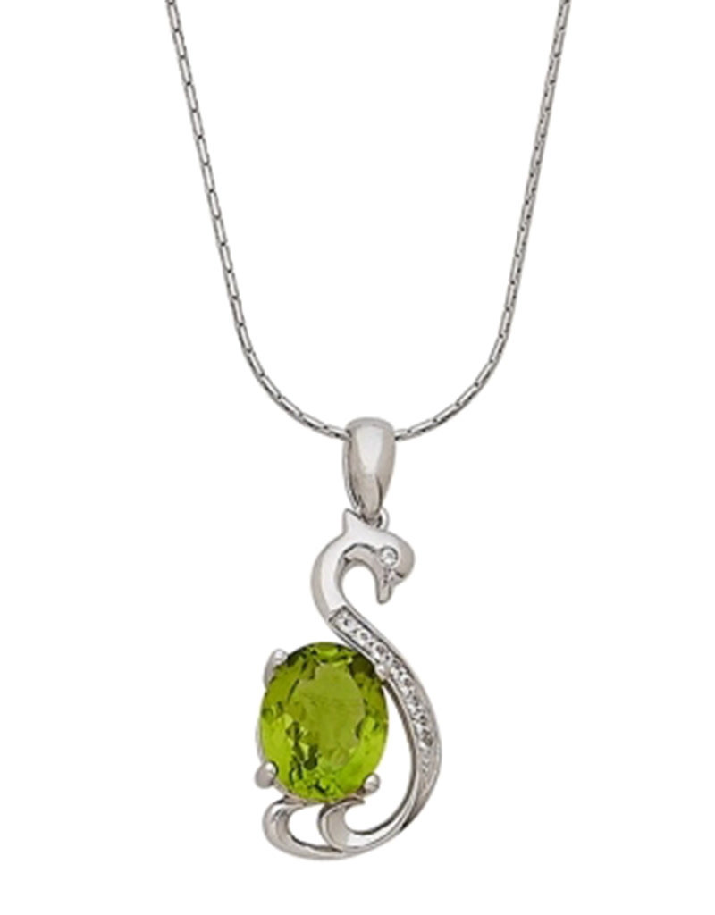 Sterling Silver Swan with Peridot and White Topaz Necklace 18""