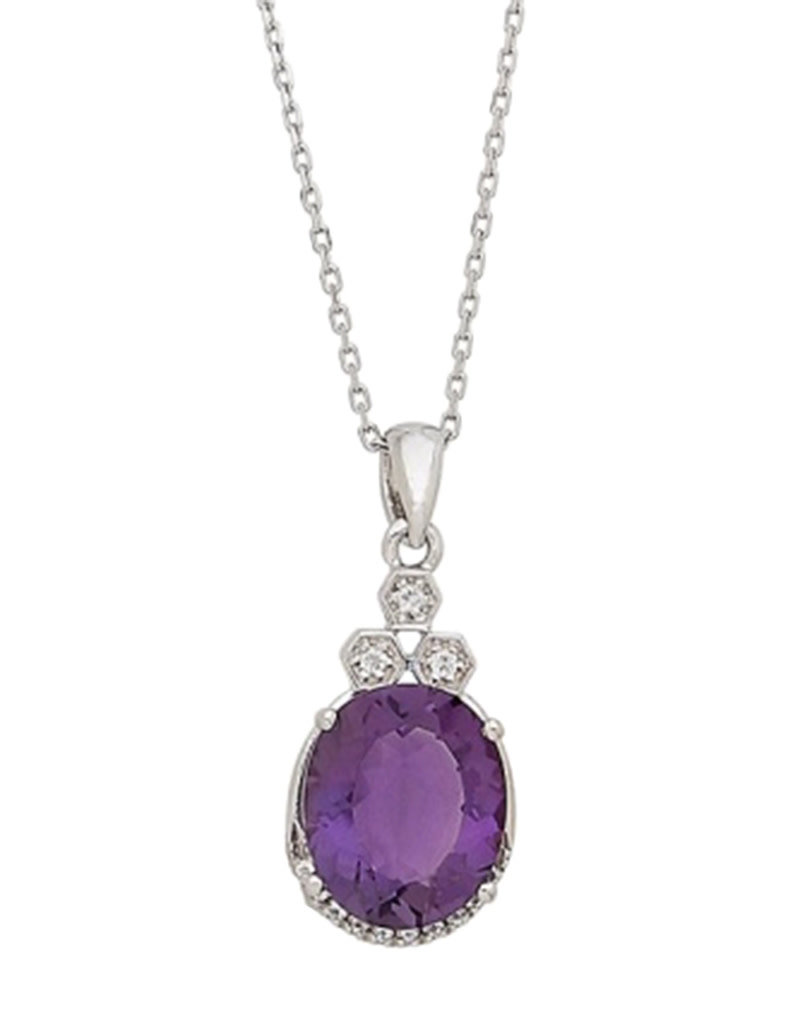 """Sterling Silver Oval Amethyst and White Topaz Necklace 18"""""""