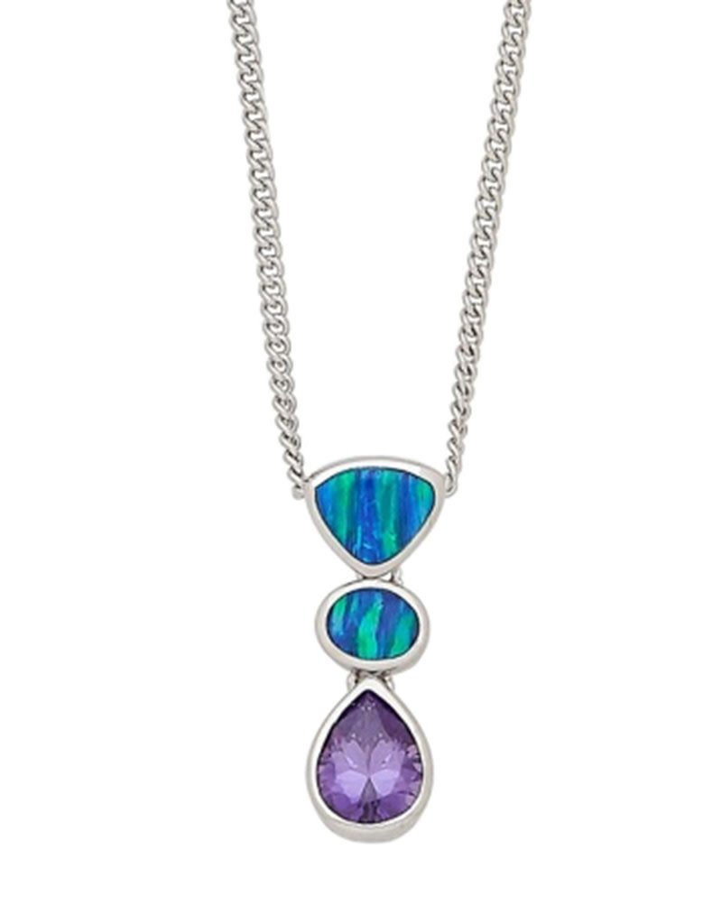 """Sterling Silver Synthetic Opal and Purple CZ Necklace 16""""+2"""" Extender"""